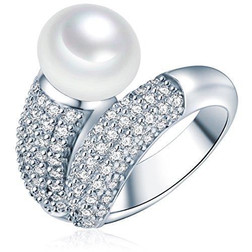 Valero Pearls Damen-Ring Hochwertige Süßwasser-Zuchtperlen in ca. 10 mm Button weiß 925 Sterling Silber Zirkonia weiß - Perlenring mit echten Perle weiss...