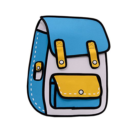 Flyfish 3D Jump Style 2D Drawing from Cartoon Paper Comic Backpack School Shoulder Bag (A)