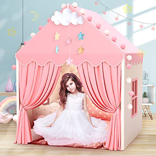 Kids Play Tents for Girls Large Fairy Playhouse for Kids Princess Castle Tent Gift Toys for Girl Toddler Children Play House (Pink)
