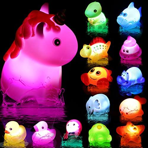 Juguetes de Baño Iluminados, 14 Piezas Juguetes de Agua de Bañera, Juguetes Sensoriales de Luz de Cambiar de Color Brillante Flotante, Juguetes de Animales de Tiburón Dinosaurio Pato de Goma