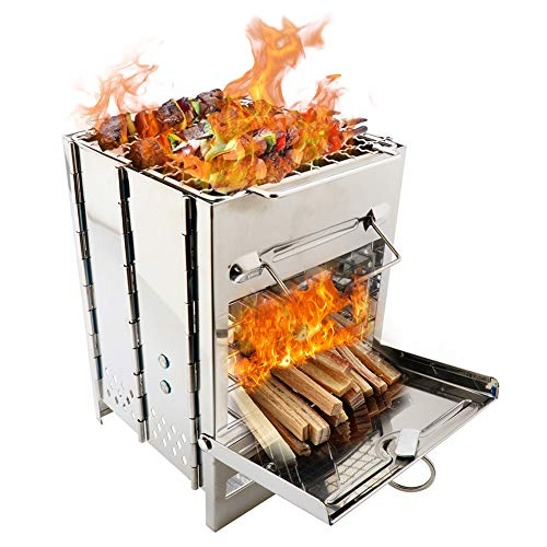 SISHUINIANHUA Outdoor Grill Herd Edelstahl Camping Grill tragbare Mini Holz leichte Küche Falten Rucksack Picknick