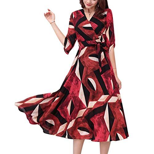 Vestido Largo de Verano Vestido Largo y Holgado con Estampado en la Cintura y Cintura Alta