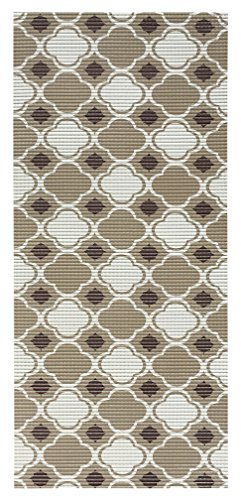 All Design Mats Cushioned Non-Slip/Rubber Moroccan Trellis Design Brown Color Aqua Runner/Doormat , easy cut to fit in your Hallway, Bathroom, or Kitchen with scissors AQ4003-01-2X10