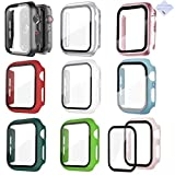 [9 Pack] 44mm Case Compatible with Apple Watch Series 6/5/4/SE 44mm iwatch 6/5/4 Glass Screen Protector 44mm Bumper Case (44mm)