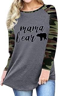 Women Raglan 3/4 Sleeve Mama Bear Shirt Graphic Camouflage Shirts Tops Blouse