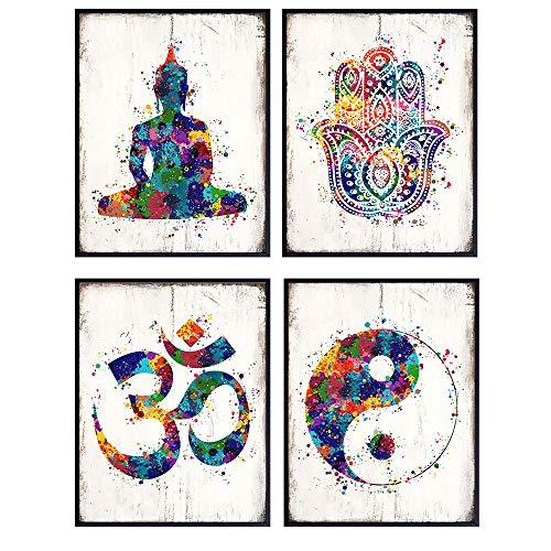 Zen Meditation Buddhist Wall Art Prints - 8x10 Spiritual Buddha, Yin Yang, Om, Hamsa Fatima Hand Photo Poster Set- Chic Room or Home Decor - Unique Gift For Yoga Fans – Unframed Pictures