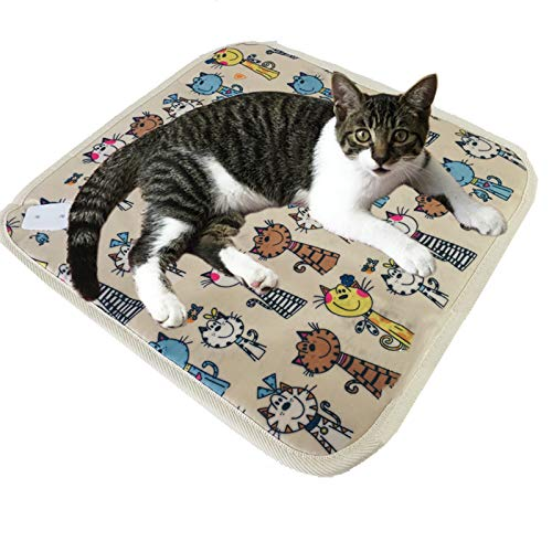 QIAO Pet Heating Pad, Dog Cat Electric Heating Pad Waterproof Adjustable Warming Mat with Chew Resistant Steel Cord,B