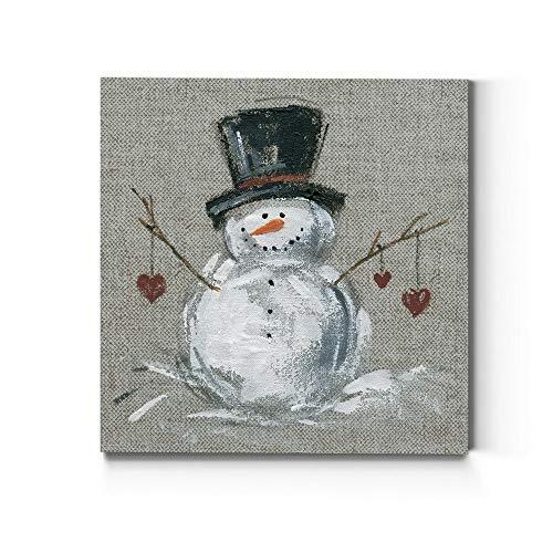 Renditions Gallery Christmas, Canvas Wall Art, Holiday Décor, Angel, Bells, Christmas Tree, Ginger Bread, Egg Nog, Snow Man, Santa, Reindeer -Snowman Linen-10X10