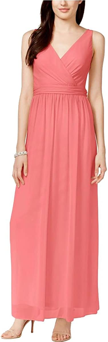 Adrianna Papell Women's Chiffon Draped Sleeveless Gown (Coral, 6)