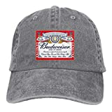 JUNIY Budweiser Beer Logo Washed Baseball Cap for Unisex Vintage Dad Hats for Hiking Running Fishing
