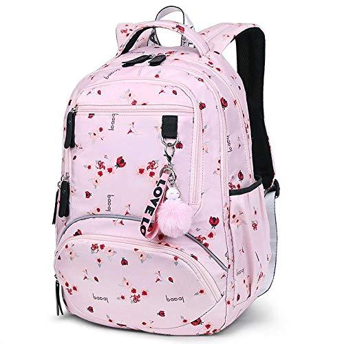 ZKRZ Student Rucksack Schultasche niedlich Student School Rucksack Gedruckte wasserdichte Bagpack Grundschule Büchertaschen für Mädchen im Teenageralter-Pinke Blume