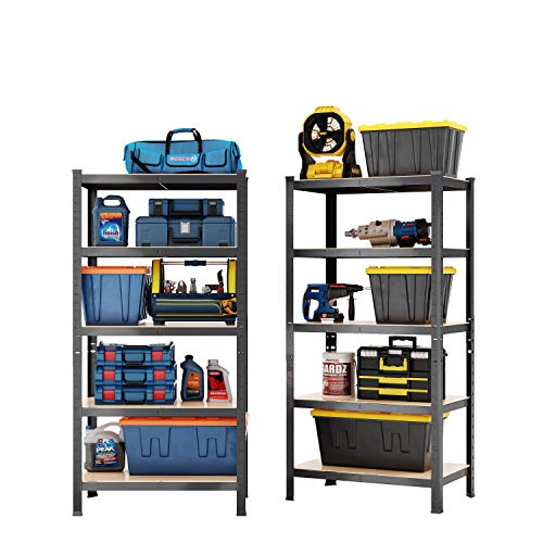 Susue 5 Tier Metal Heavy Duty Garage 1PC Storage Shelf Unit-180 x 90 x 60cm, 200KG Per Shelf- Metal & MDF Boltless Assembly System, 1bay