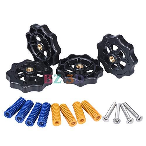 BZ 3D Heatbed Spring Leveling Kit Leveling Nut+Hot Bed Spring+M4 Screws for MK3 Heated Bed for Ender 3 / Ender 3 Pro/Ender 5/ CR-10/ CR-10S /CR-10 3D Printers Part