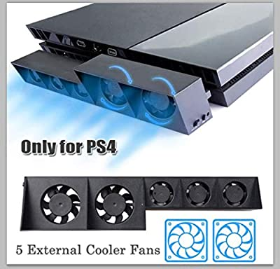 PS4 Cooling Fan USB External 5-Fan Super Turbo Temperature Cooling Fan with USB Cable Black for Sony Playstation 4 Gaming Console