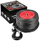 Pismire Winch 3/8' x 80' Synthetic Winch Rope with Hook, Winch Cable with Protective Sleeve, Car Tow Recovery Cable for 4WD Off Road Vehicle Truck ATV UTV SUV (Black Hook)