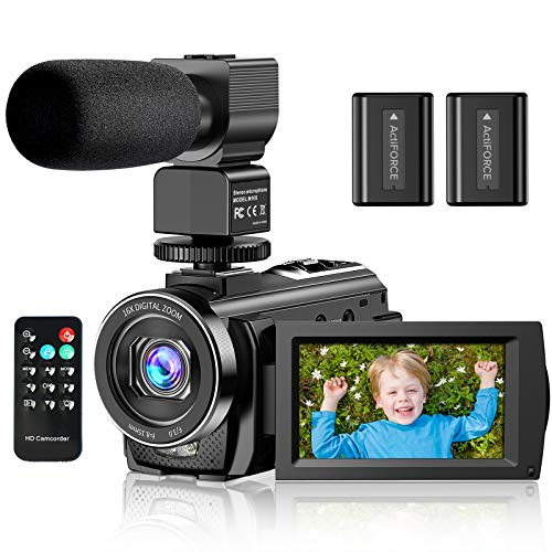 "Video Camera Camcorder YouTube Vlogging Camera FHD 1080P 30FPS 24MP 16X Digital Zoom 3"" LCD 270 Degrees Rotatable Screen Digital Camera Recorder with Microphone,Remote Control,2 Batteries"