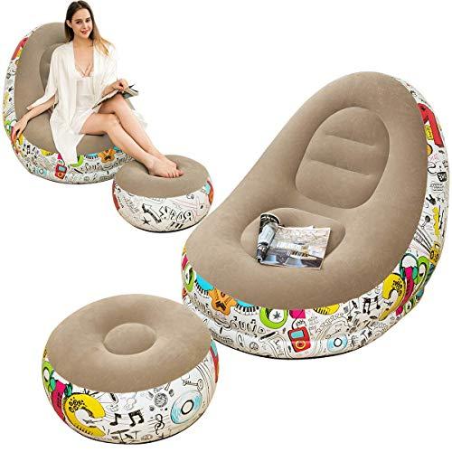 LONEEDY Sofá inflable Lazy Loy, silla de salón familiar con cojín inflable para los pies, diseño de graffiti flocado al aire libre (gris)