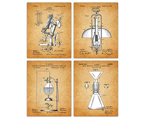 Vintage Microscope Poster Patent Prints - Set of 4 8x10 Unframed Microscope Wall Decor for Home, Office, Man Cave, Dorm and Bedroom - Creative Gift Idea for Microscope Wall Art Enthusiasts