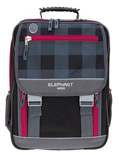 ELEPHANT Hero 2 Schulrucksack XL Schulranzen Schultasche 12364 (Plaid Red (Schwarz Rot))