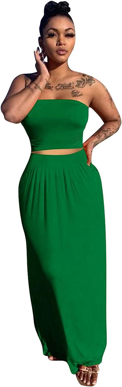Remelon Womens Casual Summer 2 Piece Strapless Crop Top Long Skirt Set Maxi Dress Outfits
