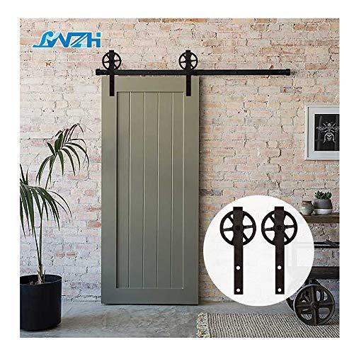 6FT/183cm Herraje para Puerta Corredera Kit de Accesorios para Puertas Correderas,Negro J-Forma Con Rodillos Grande