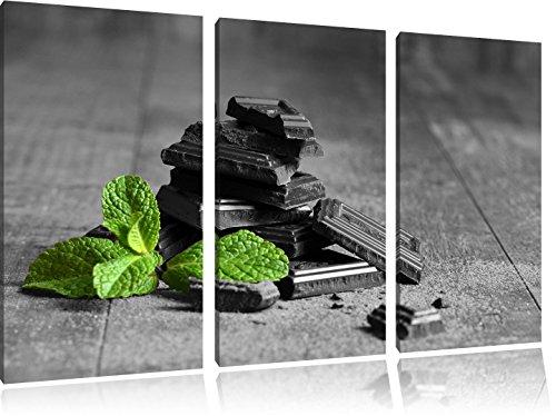 Pepermunt chocolade in stukkenFoto Canvas 3 deel | Maat: 120x80 cm | Wanddecoraties | Kunstdruk | Volledig gemonteerd