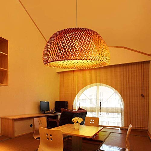 Candelabro de bambú de mimbre con forma de jaula de pájaros accesorios de iluminación lámpara de techo para sala de Dinging lámpara colgante Zen de granja linternas natural (tamaño: l)