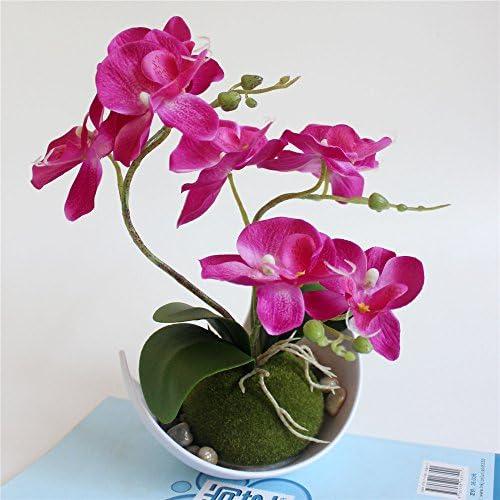 Rose Rouge You/&Me bonsa/ï Orchid/ée Papillon Fleur Artificielle Blanc Pot de Fleurs de Maison D/écoration de F/ête de Mariage