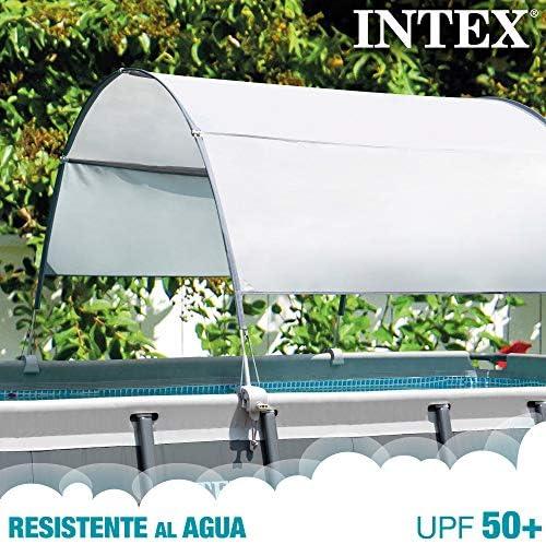 Intex 28054 - Toldo solar piscina, INTEX, para piscinas desmontables, largo 180 cm, con protección UV+50, tejido impermeable, Fácil de instalar, Metal Frame, XRT Frame 2