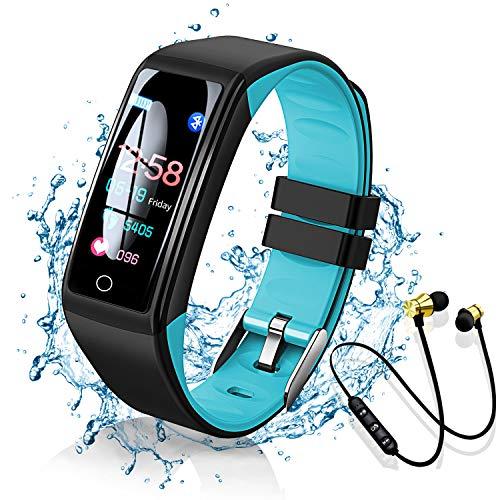 Smartwatch Orologio Fitness Tracker, Smart Watch Donna Uomo Bambini Cardiofrequenzimetro da Polso Contapassi Sportivo Activity Tracker per Android iOS, con Auricolare sportivo Bluetooth