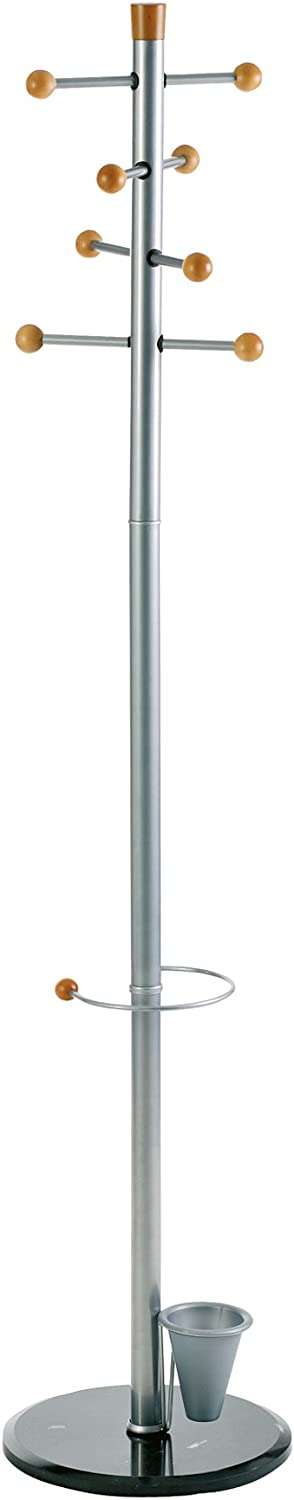 Alco Easy Coat Rack Stand with 8 Knobs and Umbrella Stand, Metal Grey, 69 X 15 Inches (2807)