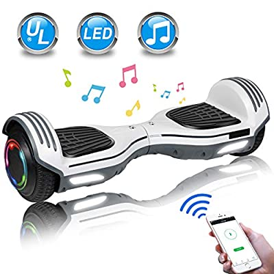 "UNI-SUN 6.5"" Hoverboard for Kids, Two Wheel Electric Scooter, Self Balancing Hoverboard with Bluetooth and LED Lights for Adults, UL 2272 Certified Hover Board (Bluetooth White)"