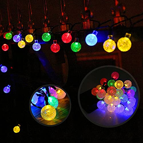 Bomoya Solar Lamp Strings 30 Light Bulbs Waterproof Led Crystal Fairy Ball Light Outdoor Fender Wedding Party Family Terrace Veranda Stair Decoration Warm/white/colored Light 6.5m