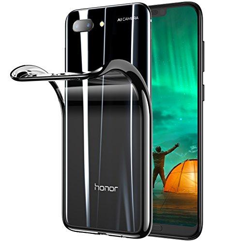 Honor 10 Hülle, Transparent Silikon Handyhülle Durchsichtig Kratzfest Schutzhülle Slim Flexible TPU Chrome Bumper Cover Crystal Clear Case, 5.84'' (Schwarz)
