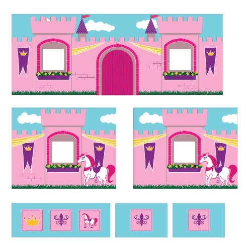 DHP Princess Castle Design Curtain Set for Junior Loft Bed, Kids Furniture, Pink