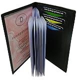 Cuero de búfalo Elegante Tarjetero para documento de Identidad y Tarjeta de crédito MJ-Design-Germany (Negro)