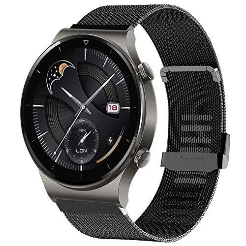 Moorovgi Armband Kompatibel mit Huawei Watch GT2 Pro,22MM Uhrenarmband Mesh Metall Ersatzarmband Kompatibel Huawei GT2 Pro/Watch GT/GT 2e (Schwarz)