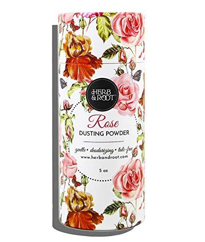 Rose Perfumed Body Dusting Powder for Women, Talc Free, Anti-chafing, feminine powder, dusting powder   Herb & Root, 5 oz