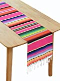 BOXAN Mexican Table Runner Handwoven Fringe Cotton Serape Blanket Table Runners, Colorful Mexican Stripe Table Runner for Mexican Party Decorations Fiesta Party Supplies, 14in x 84in