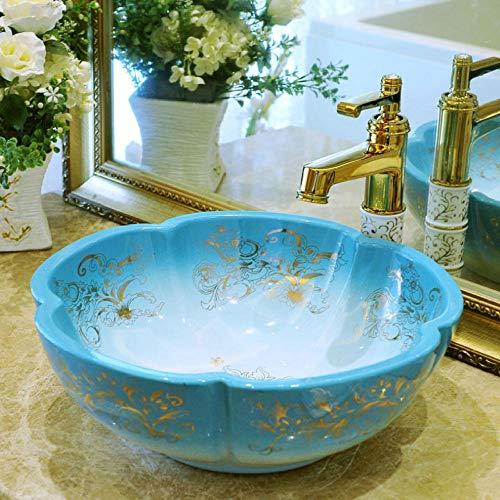 Jgophu Lavabo de mano azul China Artistic hecho a mano con forma de flor de porcelana para cuarto de baño, encimera de cerámica