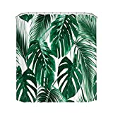 Home Queen Tropic Plant Painting Shower Curtains, Watercolor Banana Palm Leaves Waterproof Bath Curtains with Weighted Rubber at The Bottom, 71 X 71 inches, Hunter Green White