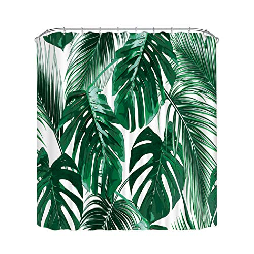 Home Queen Tropic Plant Painting Duschvorhänge, Aquarell-Bananenblätter, wasserdichte Badvorhänge mit beschwertem Gummi an der Unterseite, 180 x 180 cm, Hunter Green White