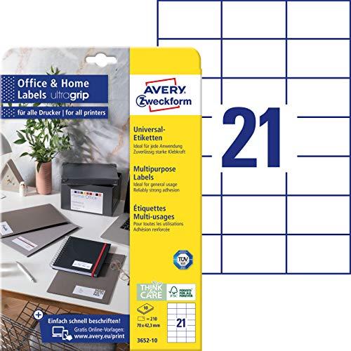 AVERY Zweckform 3652-10 Adressaufkleber (210 Klebeetiketten, 70x42,3 mm auf A4, bedruckbare Absenderetiketten, selbstklebende Adressetiketten mit ultragrip, ideal fürs HomeOffice) 10 Blatt, weiß