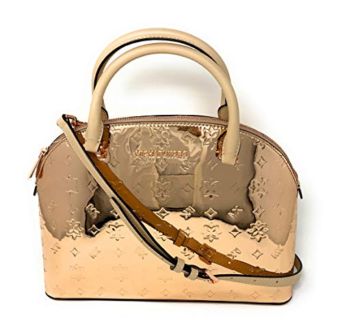 "Imported Zip Top Closure Rose Gold Toned Hardware Custom Fabric Lining 2 Multi-Functional Pockets Straps: 3"", 20""-23"" 13""(base) 10""(top) (L) X 9.5""(H) X 5""(D)"