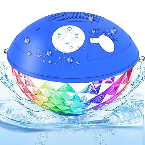 Bluetooth Pool Lautsprecher, IPX7 Wasserdicht Bluetooth Lautsprecher Tragbarer Dusche Musikbox mit LED Lichter, Kristallklare Freisprechen, Schwimmender Lautsprecher für Strand Badezimmer Party Gabe