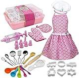 Family in Kinderküche Zubehör,22 STÜCKE Kinder Kochen Backen Spielzeug Geschirr Set Rolle Spielen Küchenutensilien Backform Werkzeuge Kuchen Schürze