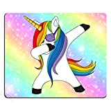 Funny Unicorn Dance Mouse pad Design,Galaxy Hipster Unicorn Wear Funny Sunglasses Mouse Pad,The Unicorn in Pastel Sky with Rainbow. Pastel Clouds and Sky with Bokeh Mouse pad