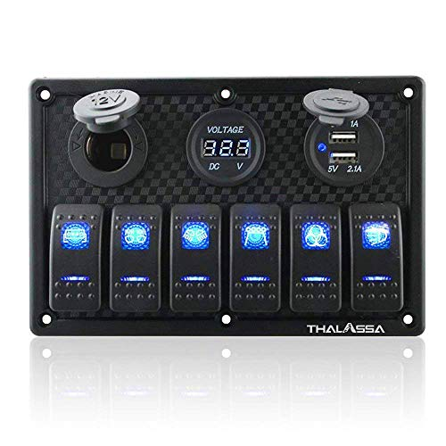 6 Gang Waterproof Rocker Switch Panel Blue LED Digital Display Voltmeter Dual 5V USB Charger Socket DC 12V Slot, 5 Pin Lighting Toggle Switches with 15A fuse for RV Truck Car Marine Boat Vehicle