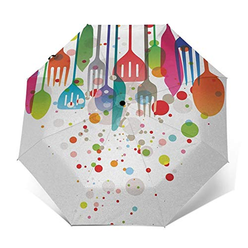 Paraguas Plegable Automático Impermeable Inicio Utensilios de Cocina Utensilios Cubiertos,Paraguas De Viaje Compacto A Prueba De Viento, Folding Umbrella, Dosel Reforzado, Mango Ergonómico
