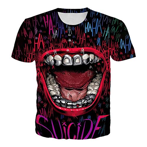 BESIYA PSY1188T Series 3D T-Shirt Round Collar Short-Sleeve Tops for Men and Women Unisex 3D Casual Tees with Suicide Squad Design,m